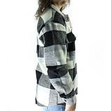 Женское пальто рубашка в клетку на пуговицах деми оверсайз пальто клетчатое, фото 2