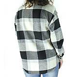 Женское пальто рубашка в клетку на пуговицах деми оверсайз пальто клетчатое, фото 3