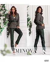 Стильный костюм-двойка с брюками из эко-кожи и пиджак с подкладкой с 42 по 48 размер, фото 3