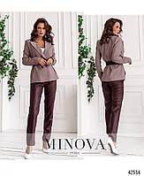 Стильный костюм-двойка с брюками из эко-кожи и пиджак с подкладкой с 42 по 48 размер, фото 6
