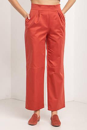 Женские Широкие коттоновые брюки цвета терракот с высокой талией, фото 2