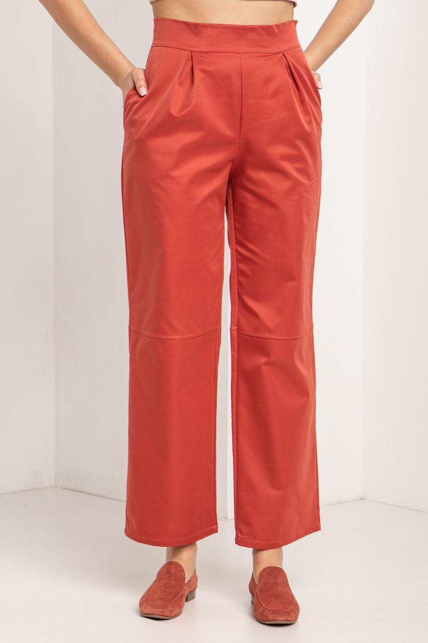 Женские Широкие коттоновые брюки цвета терракот с высокой талией