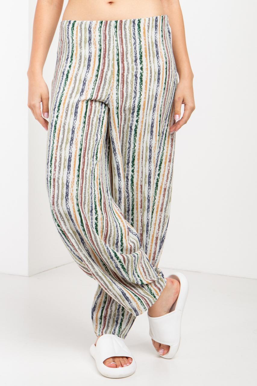 Летние широкие брюки зауженные в полоску