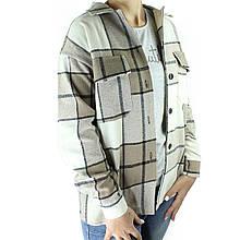 Рубашка женская бежевая оверсайз клетчатая деми пальто