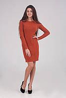 Оригинальное теплое вязаное женское платье