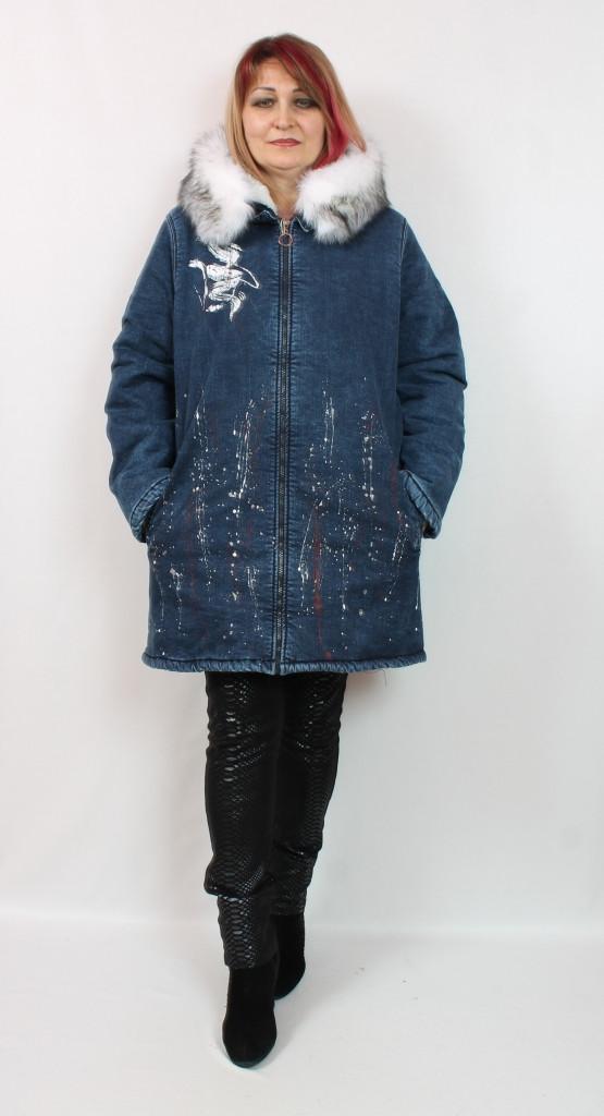 Турецкая зимняя женская джинсовая куртка с мехом, размеры 50-56