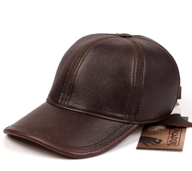 Мужская бейсболка Picador БРС1-de c.-2 кожаная коричневая