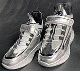 Дитячі черевики-кросівки для хлопчика та дівчинки срібні, фото 3