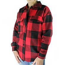 Рубашка женская красно-черная оверсайз в клетку