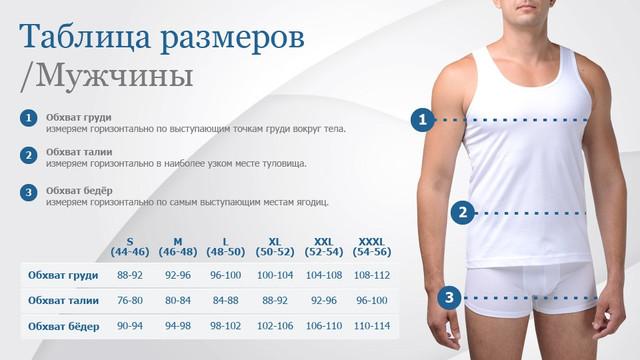 Таблица размеров термобелья для мужчин