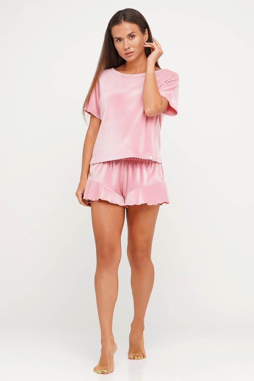 Сиреневая велюровая пижама шорты и футболка TM Orli