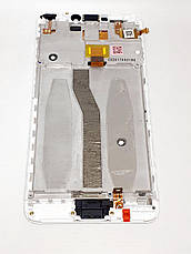 Модуль в сборе сенсор и дисплей в рамке с сенсорной кнопкой Asus Zenfone 4 Max Pro ZC554KL белый оригинал раз, фото 2