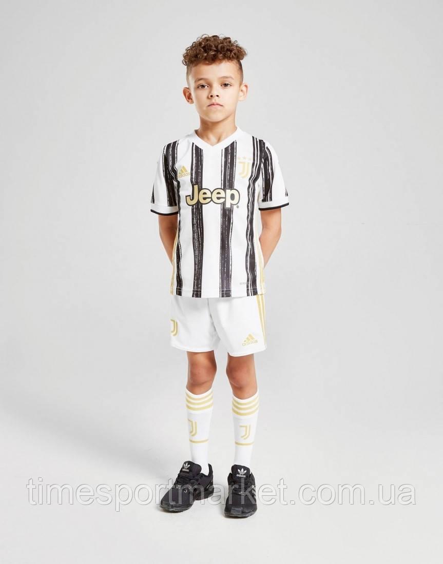 Детская Футбольная форма Ювентус домашняя бела-черная 2020-2021 (Оригинальная Реплика)