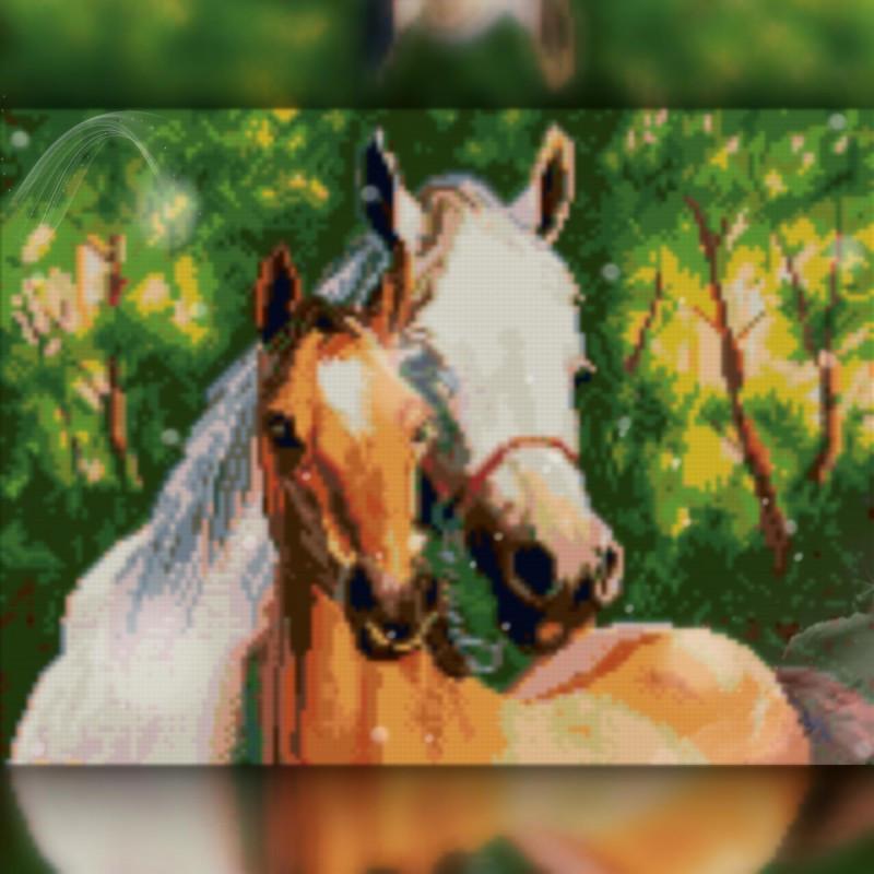 Алмазная вышивка мозаика The Wortex Diamonds Две лошадки 30x40см TWD20026 полная зашивка квадратные стразы.