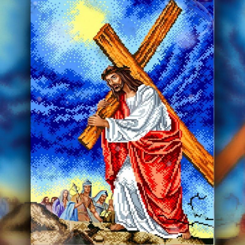 Алмазная вышивка мозаика The Wortex Diamonds Иисус Христос несет крест 30x40 TWD60006 полная зашивка