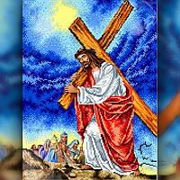 Алмазная вышивка мозаика The Wortex Diamonds Иисус Христос несет крест 30x40 TWD60006 полная зашивка, фото 1