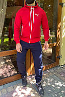 Размеры: 50,52. Мужской спортивный костюм / Трикотаж двунитка - синий с красным
