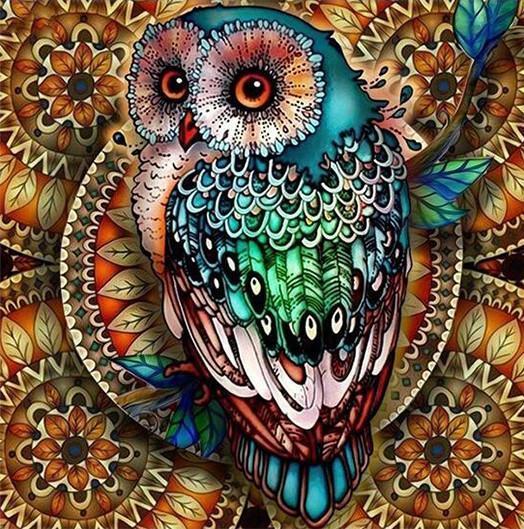 Алмазная мозаика Яркая сова DM-346 40х40см Полная зашивка. Набор алмазной вышивки животные птицы