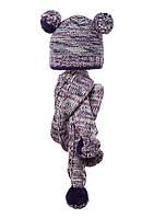 Детский комплект: вязаная шапочка с бумбонами и шарфик, Loman Польша.