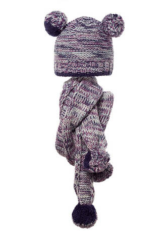 Детский комплект: вязаная шапочка с бумбонами и шарфик, Loman Польша., фото 2