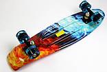 Скейт Penny Board, с широкими светящимися колесами Пенни борд, детский , от 4 лет, расцветка Огонь и лед, фото 3