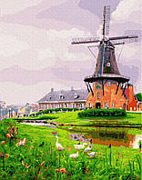 Картина рисование по номерам Brushme Мельница на окраине GX26035 40х50см набор для росписи, краски, кисти,