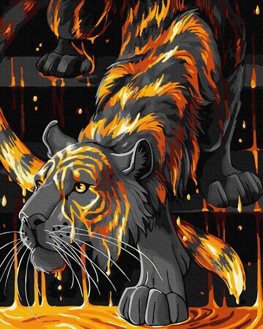 Картина рисование по номерам Brushme Тигр в огне GX35049 40х50см набор для росписи, краски, кисти, холст