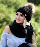 Комплект шапка , шарф - хомут и перчатки Орианн черный