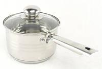 Ковш кухонный из нержавеющей стали с стеклянной крышкой A-PLUS 2.1 л | Индукционная кастрюля из нержавейки