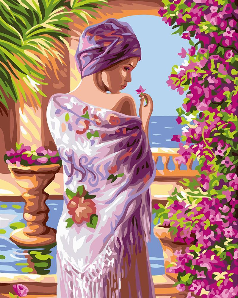 Картина рисование по номерам Brushme Цветы у лоджы GX24107 40х50см набор для росписи, краски, кисти, холст