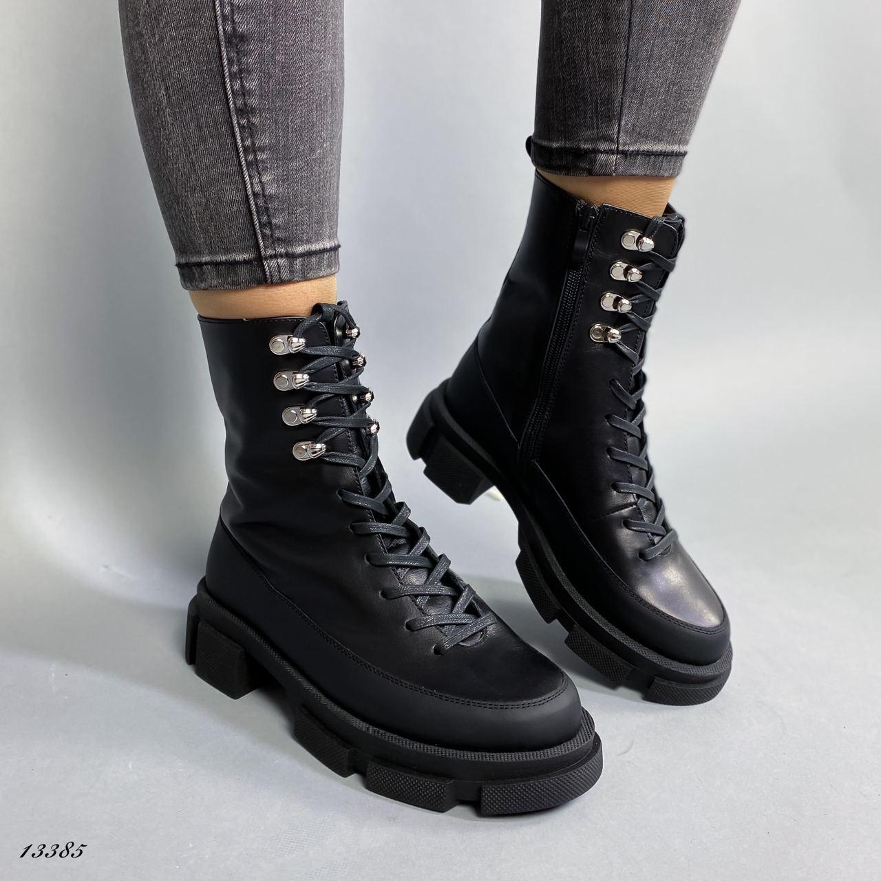 Ботинки женские кожаные чёрные