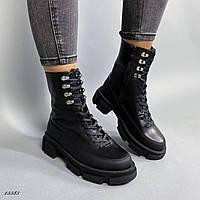 Ботинки женские кожаные чёрные, фото 1