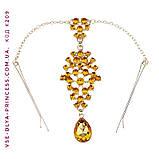 Тика на лоб под золото с малиновыми камнями, диадема, бижутерия в восточном стиле, высота 15 см., фото 2