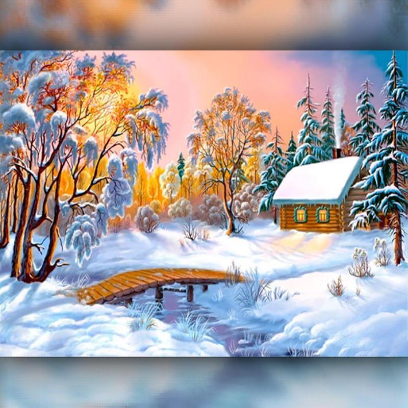 Алмазная вышивка мозаика The Wortex Diamonds Зимний домик 30x40см TWD30002 полная зашивка квадратные стразы.