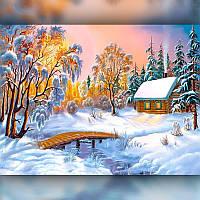 Алмазная вышивка мозаика The Wortex Diamonds Зимний домик 30x40см TWD30002 полная зашивка квадратные стразы., фото 1
