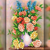Алмазная вышивка мозаика The Wortex Diamonds Розы в вазе 30x40 TWD10006 полная зашивка квадратные стразы., фото 1