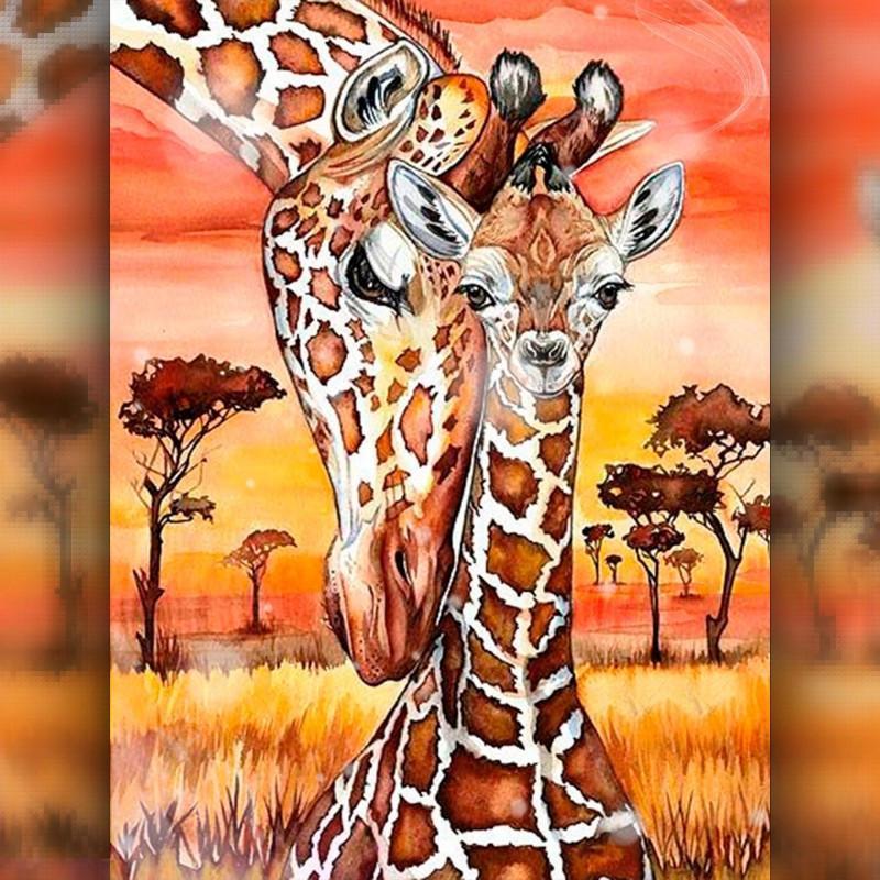Алмазная вышивка мозаика The Wortex Diamonds Жирафенок с мамой 30x40см TWD50005 полная зашивка квадратные