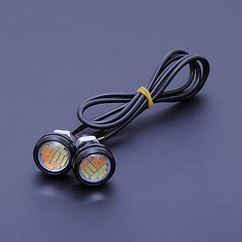 Глазки-линзы врезные LED D=23мм (Ангельские глазки) 12V белый+желтый поворот (4014-12SMD) (2шт)
