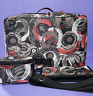 Парикмахерская сумка 40*27*25см в комплекте чехол для ножниц, косметичка Красные круги, фото 1