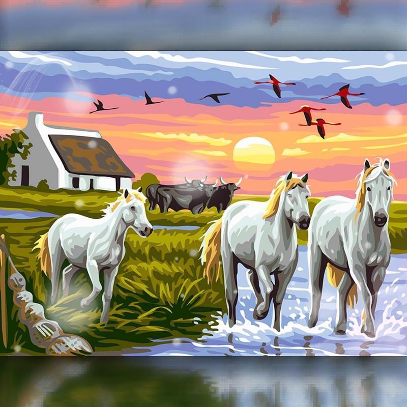 Алмазная вышивка мозаика The Wortex Diamonds Табун лошадей 30x40 TWD20005 полная зашивка квадратные стразы.