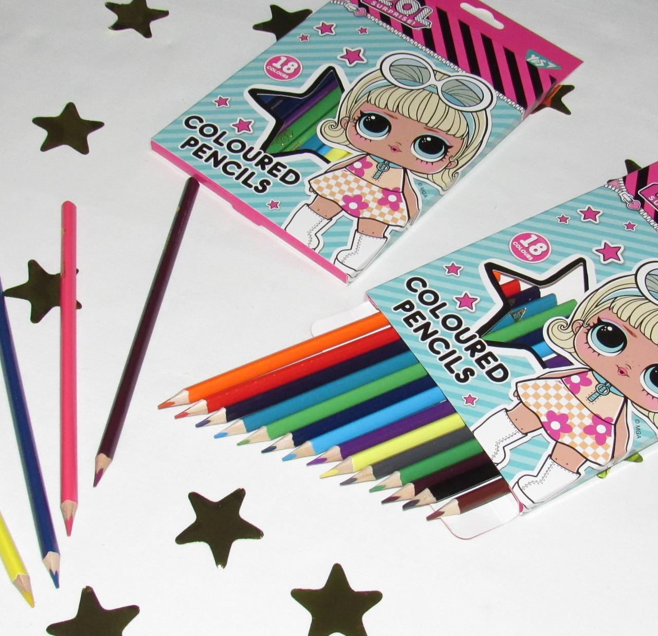 Набор цветных карандашей 18 цветов Куклы Лол 290572