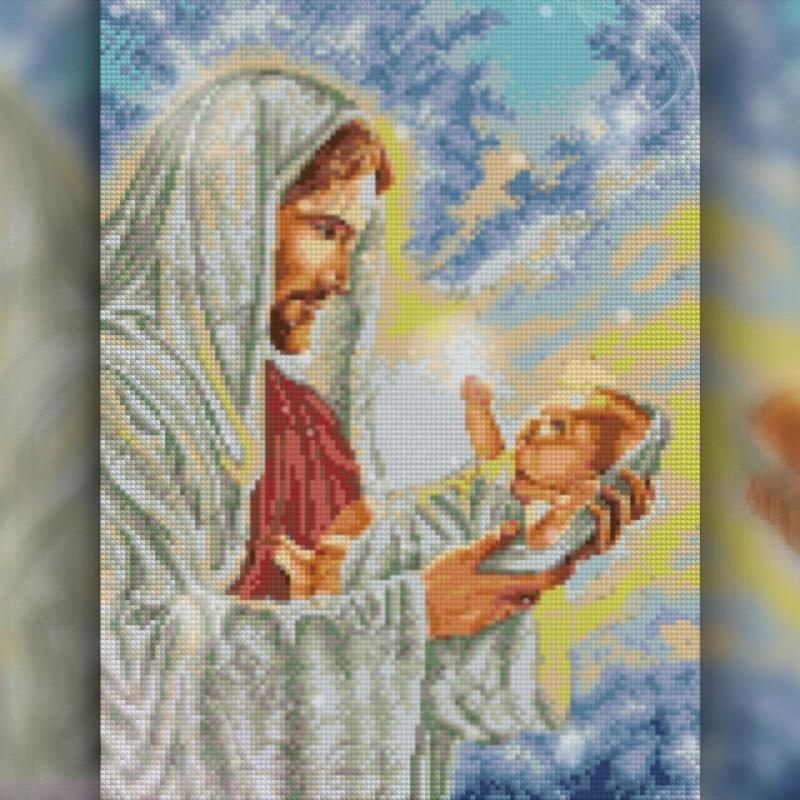 Алмазная вышивка мозаика The Wortex Diamonds Иисус с младенцем 30x40 TWD60005 полная зашивка квадратные
