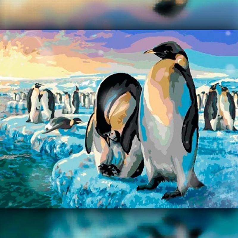Алмазная вышивка мозаика The Wortex Diamonds Пингвины 30x40см TWD20021 полная зашивка квадратные стразы. Набор