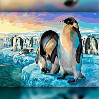 Алмазная вышивка мозаика The Wortex Diamonds Пингвины 30x40см TWD20021 полная зашивка квадратные стразы. Набор, фото 1