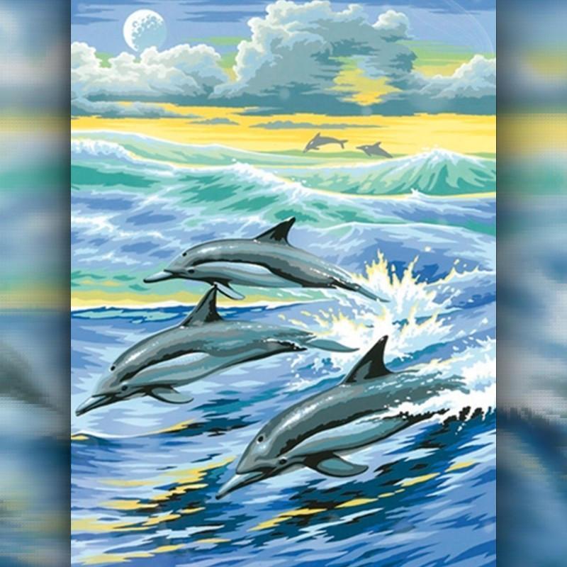 Алмазная вышивка мозаика The Wortex Diamonds Дельфины в море 30x40см TWD20011 полная зашивка квадратные