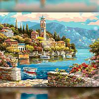 Алмазная вышивка мозаика The Wortex Diamonds Река под городом 30x40см TWD30009 полная зашивка квадратные, фото 1