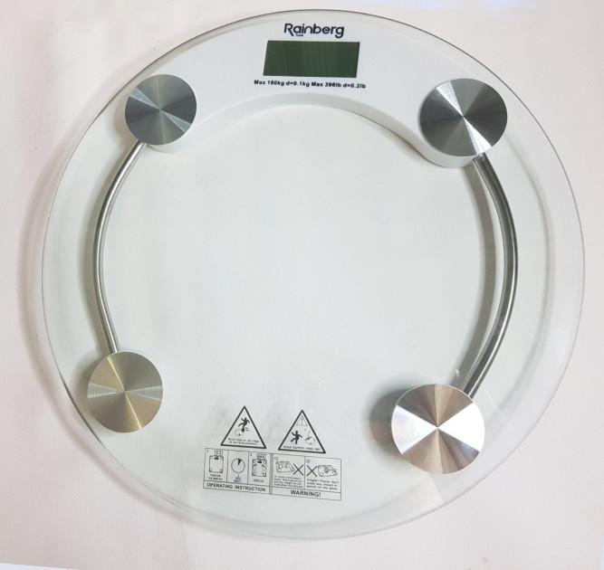 Весы электронные напольные бытовые круглые, вагі підлогові, прозрачные Rainberg RB 2003 A/180кг 180кг