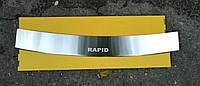Накладка на бампер с загибом Skoda Rapid 2013-