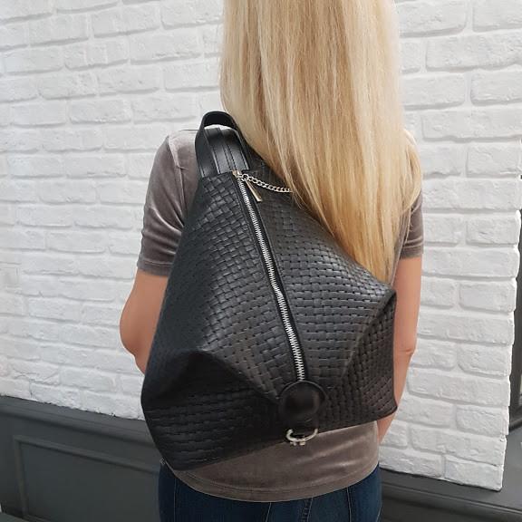 """Рюкзак жіночий """"Паріс"""" натуральна шкіра, чорний, з тисненням венето"""