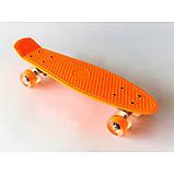 Скейт Penny Board, с широкими светящимися колесами Пенни борд, детский , от 4 лет, Цвет Оранжевый, фото 4